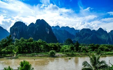 asian urban landscape,Vangvieng, Laos